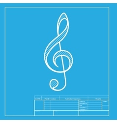 Music violin clef sign g-clef treble clef white vector