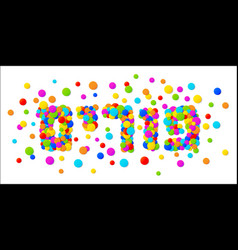 Purim text with colorful confetti background vector