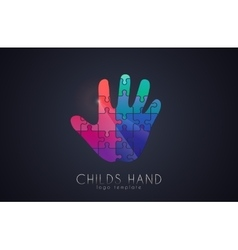 Puzzle hand childs hand logo creative logo vector