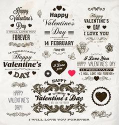Retro Valentine Icon Set vector image vector image