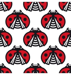 Seamless pattern of little spotted red ladybugs vector