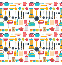 Seamless pattern with kitchen utensils home vector