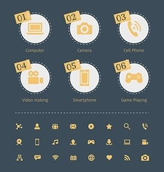 Set of social media icons in circle with paper vector image