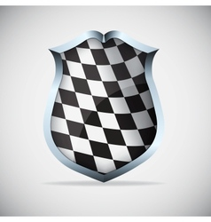 Shield with checkered flag vector image vector image