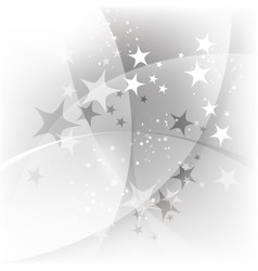 silver abstract background with stars vector image vector image