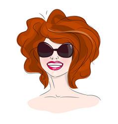 smiling woman sunglasses vector image