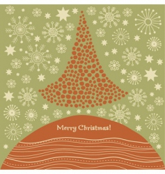 stylized Christmas tree Christmas card vector image