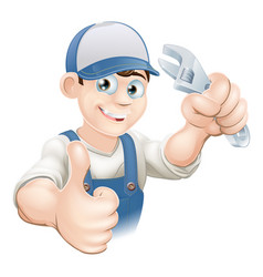 Thumbs up plumber with spanner vector