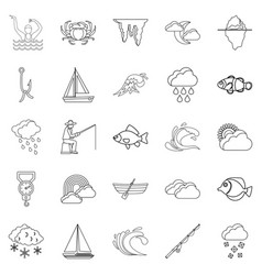 vacuity icons set outline style vector image vector image