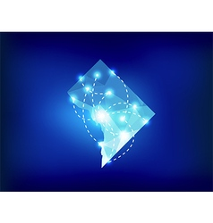 Washington dc state map polygonal with spot lights vector