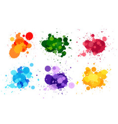 watercolor splashes in six colors vector image vector image