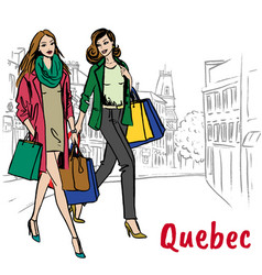 Women with shopping bags walking on st jean street vector