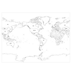 World map with country borders thin black outline vector image world map country border outline on white vector image vector image gumiabroncs Choice Image