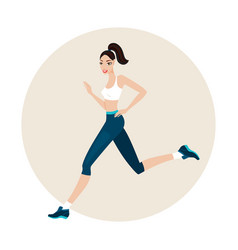 Young beautiful slim woman running wearing sport vector