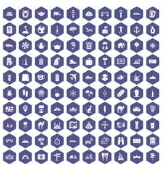 100 tourism icons hexagon purple vector