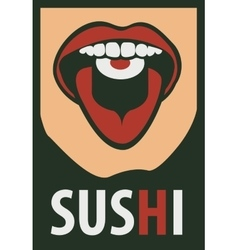 human mouth eating sushi vector image