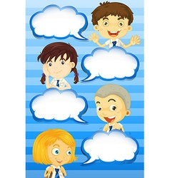 Boys and girls with speech bubbles vector image
