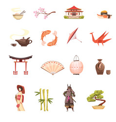 japan retro cartoon icons set vector image