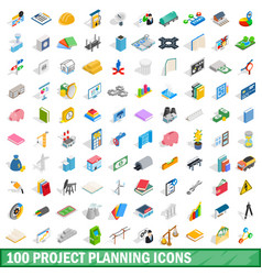 100 project planning icons set isometric 3d style vector image