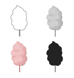 cotton candy icon in cartoon style isolated on vector image