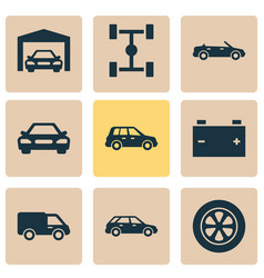 Automobile icons set collection of accumulator vector