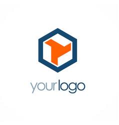 Polygon shape company logo vector