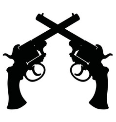 Black silhouette of retro revolvers vector