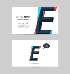 Business card template - letter e vector