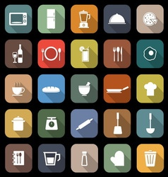 Kitchen flat icons with long shadow vector