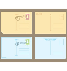Flat design of 4 postcards vector