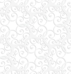 3D white slim ornament with swirls vector image vector image