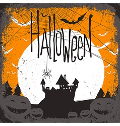 Haunted castle and web vector