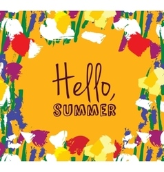 Flowers frame hello summer sign card vector
