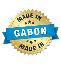 Made in gabon gold badge with blue ribbon vector