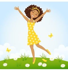 Jumping girl vector image