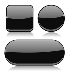 black buttons round square and oval shiny icons vector image
