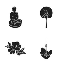 Buddha statue national fan hibiscus flower vector