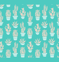 cactus hand-drawn seamless pattern grunge vector image