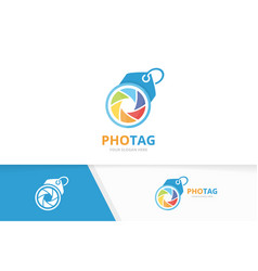Camera shutter and tag logo combination vector