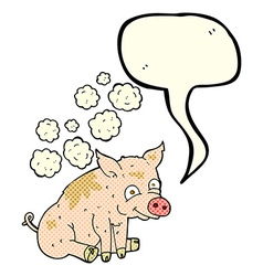 cartoon smelly pig with speech bubble vector image vector image