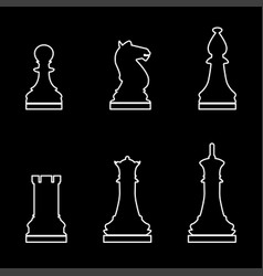 chess pieces white color path icon vector image