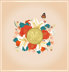 Chinese wedding card invitation with chinese text vector