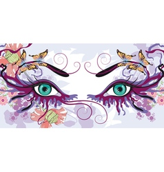 eyes with floral designs vector image vector image
