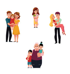 Family members hugging - parents children vector