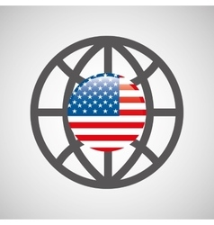 globe sphere flag usa country button graphic vector image vector image
