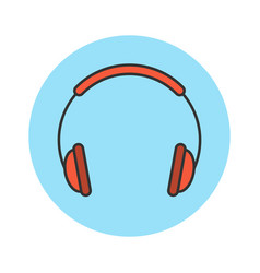 headphones flat line icon vector image