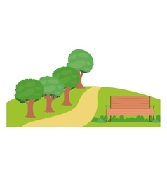 Isolated bench and trees of park design vector