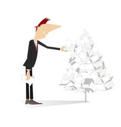 Man makes a paper tree vector image vector image