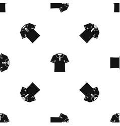 Men polo shirt pattern seamless black vector