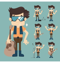 musician playing guitar eps10 format vector image